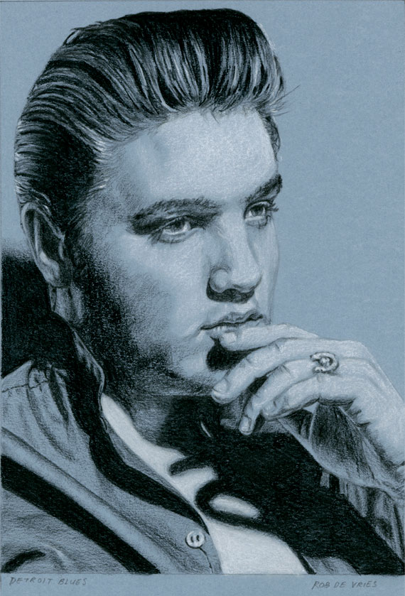 EIC#70 Detroit Blues, elvis drawing by Rob de Vries